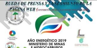 Cartel con la convocatoria de la rueda de prensa del Ministerio de Minas e Hidrocarburos sobre el Año Energético 2019