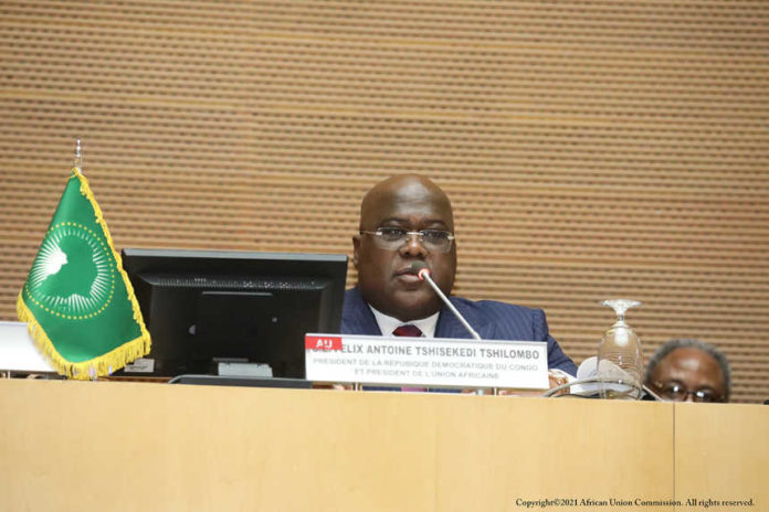 Felix-Antoine Tshisekedi Tshilombo, presidente entrante de la Unión Africana y presidente de la República Democrática del Congo en el 34 ° período ordinario de sesiones de la Asamblea de la UA