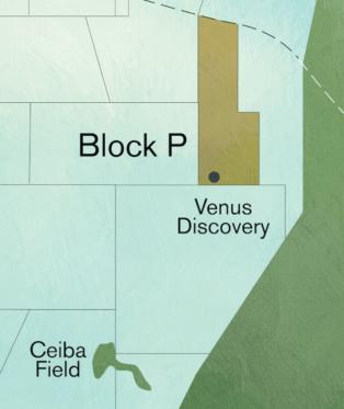El Bloque P cubre un área de 1.253 kilómetros cuadrados en la cuenca del Río Muni, muy cerca del continente de Guinea Ecuatorial.